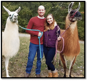 Me, Jon, and llamas in Palm Bay FL at River Oak Dental.