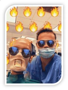 Snapchat of River Oak Dental students playing games.