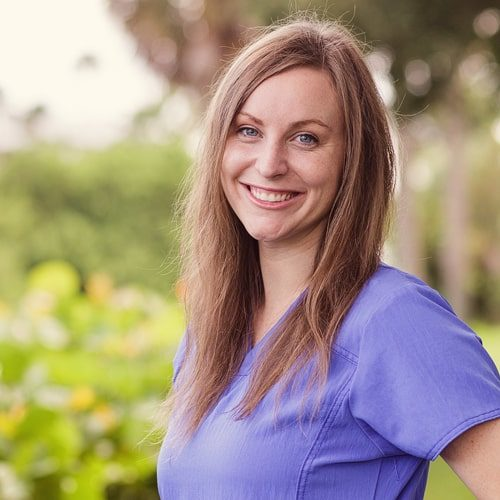 River Oak Dental Hygienist, Kendall, smiling for the camera in Palm Bay FL.