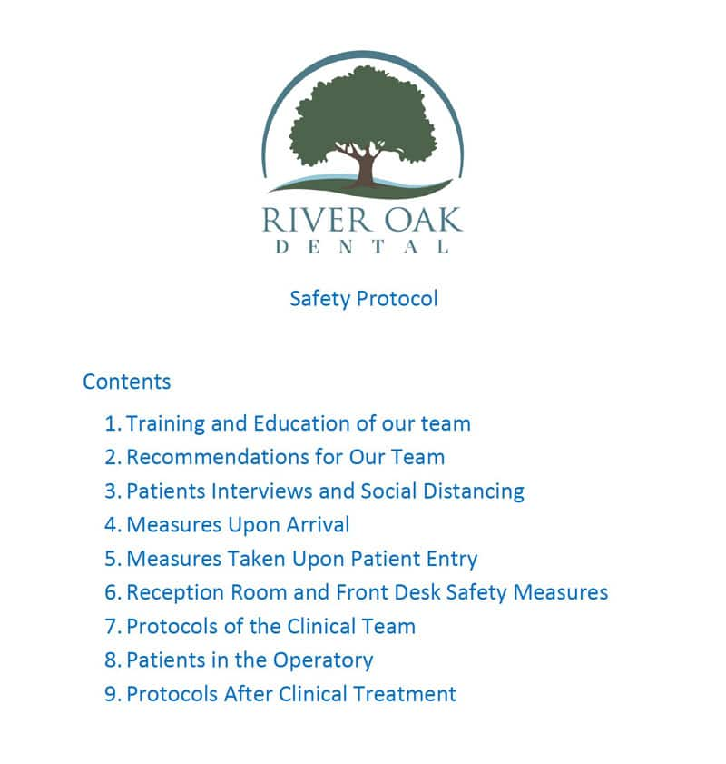 COVID19 Safety Protocol - River Oak Dental Palm Bay FL