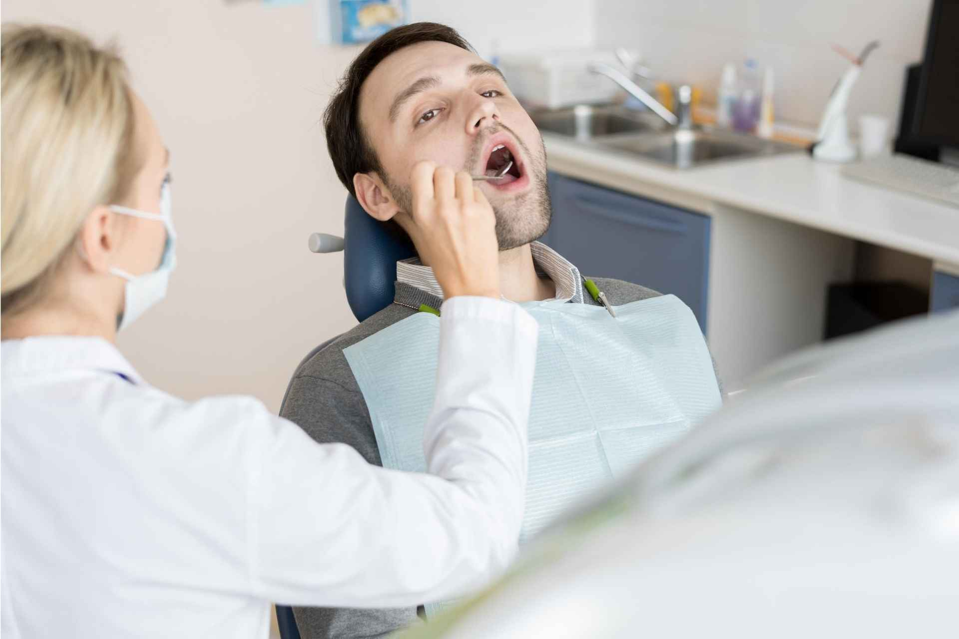 Man at oral cancer screening