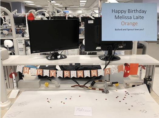 Melissa Laite's birthday desk decoration